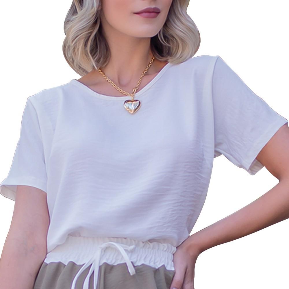 Camiseta Blusinha Básica em Tecido Crepe Manga Curta Branca Gola Redonda  - EPM Acessórios
