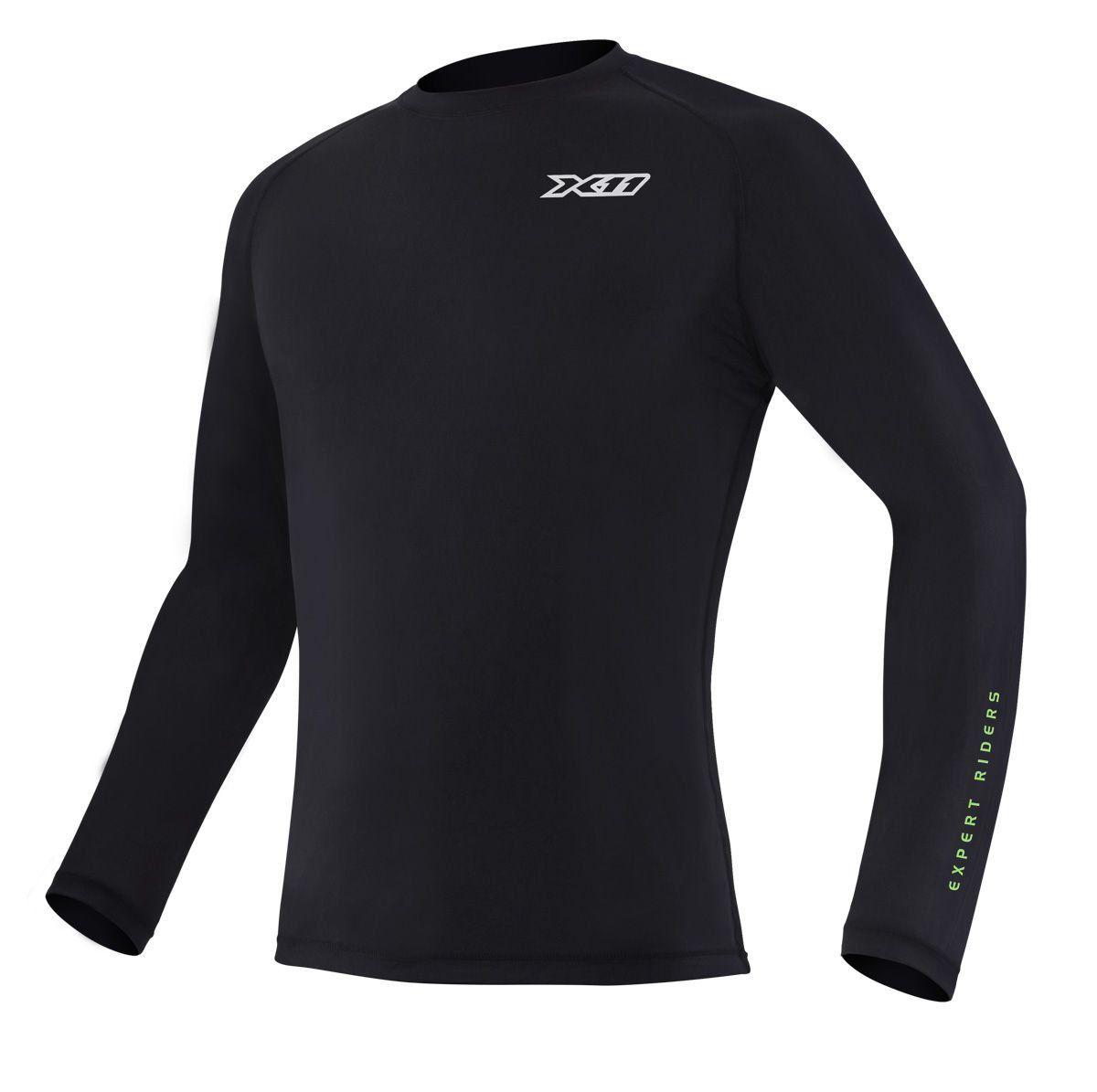 Camiseta Climate 2 X11 Preta Segunda Pele Térmica Motoqueiro Motociclista Ciclista Natação Treino Corrida
