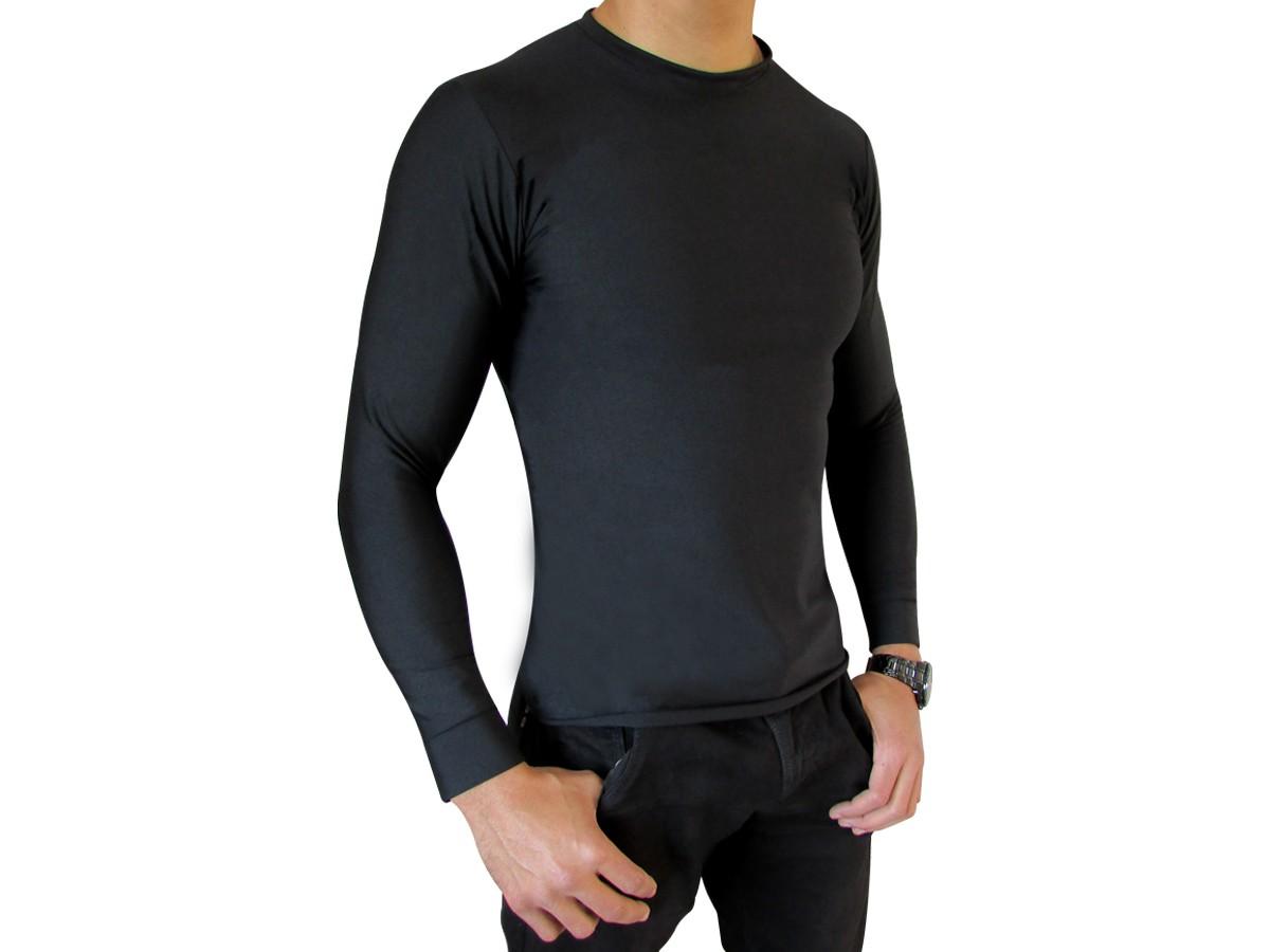 Camiseta Preta Segunda Pele Térmica Motoqueiro Motociclista Ciclista Natação Treino Corrida