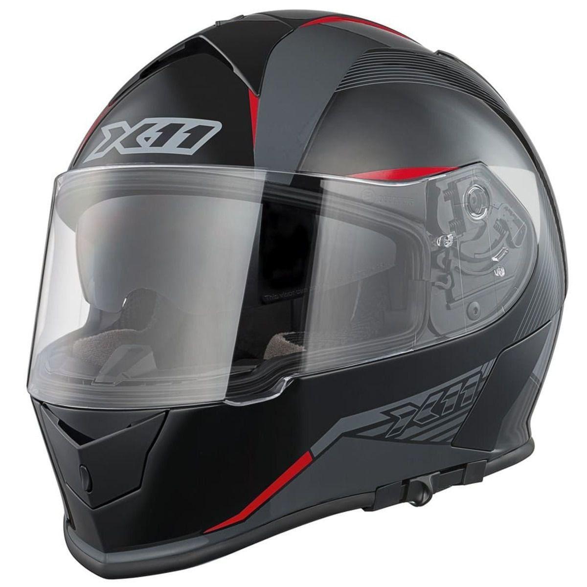 Capacete X11 Revo Fechado Com Óculos Solar Interno Motoqueiro Motociclista