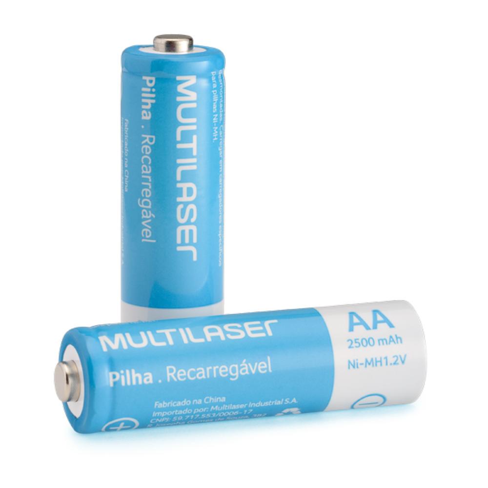 Kit 2 Pilhas Recarregáveis Multilaser Aa Nimh 1,2v 2500Mah CB053 + Carregador de Pilha AA para 2 ou 4 pilhas + Adaptador Tomada