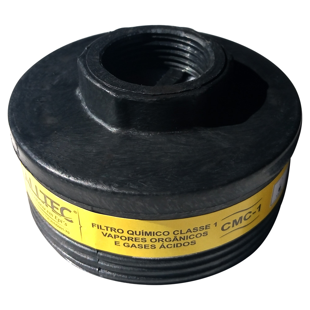 Filtro Refil Cartucho Máscara Respirador Químico VO/GA Alltec Mastt CMC 1 CA 10463 Vapores Orgânicos e Gases Ácidos