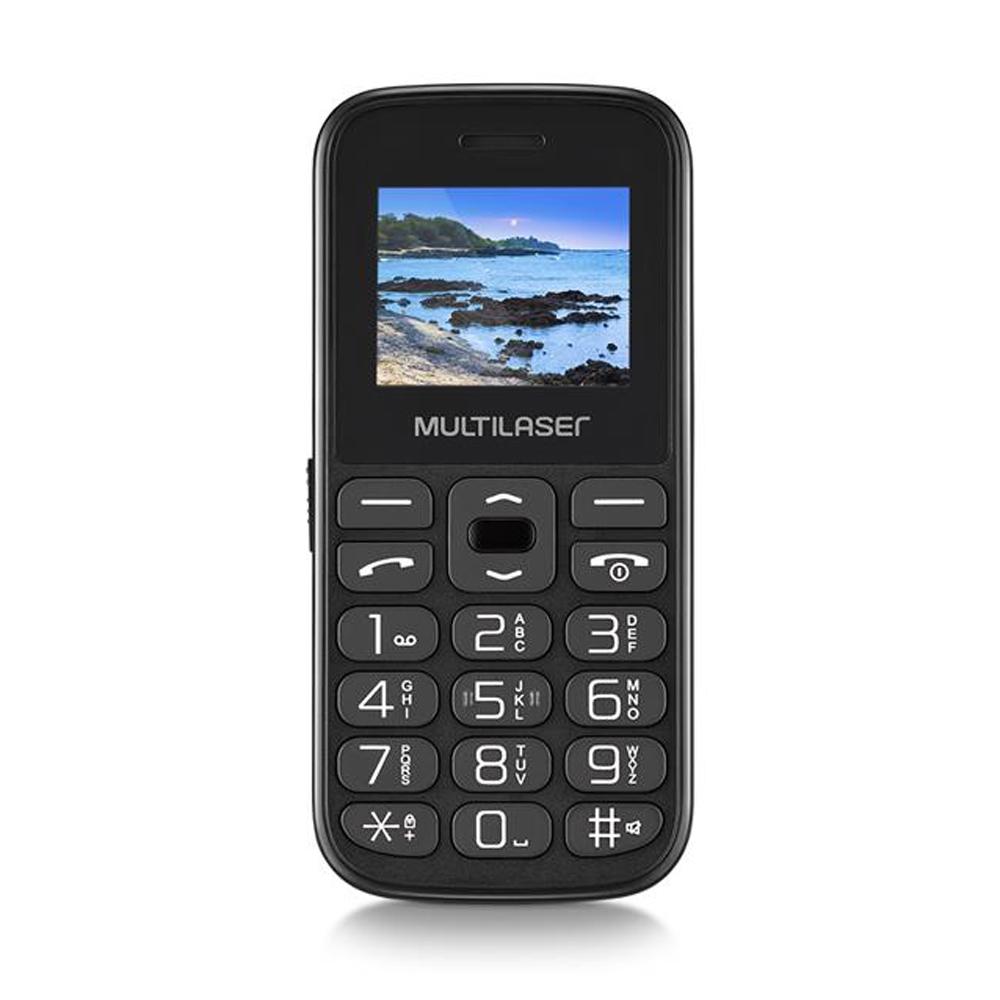 Celular Multilaser Vita IV Tela 1.8 Pol. Dual Chip 32Mb USB Bluetooth Botão SOS P9120 Preto Com Teclas Grandes Para Idoso