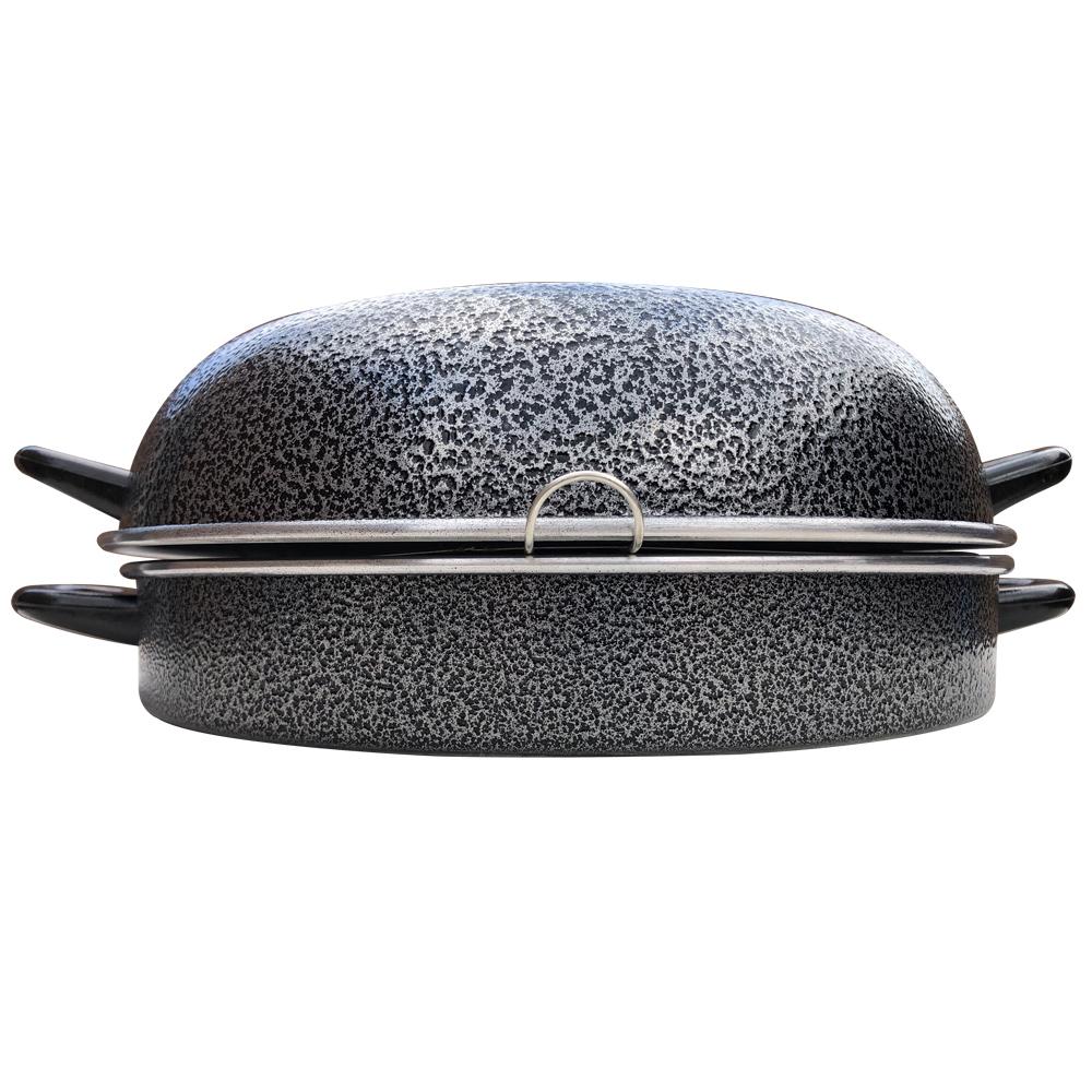 Churrasqueira De Fogão Grill de Alumínio Reforçado 30cm Com Tampa e Grelha Praticidade Para Carnes e Legumes