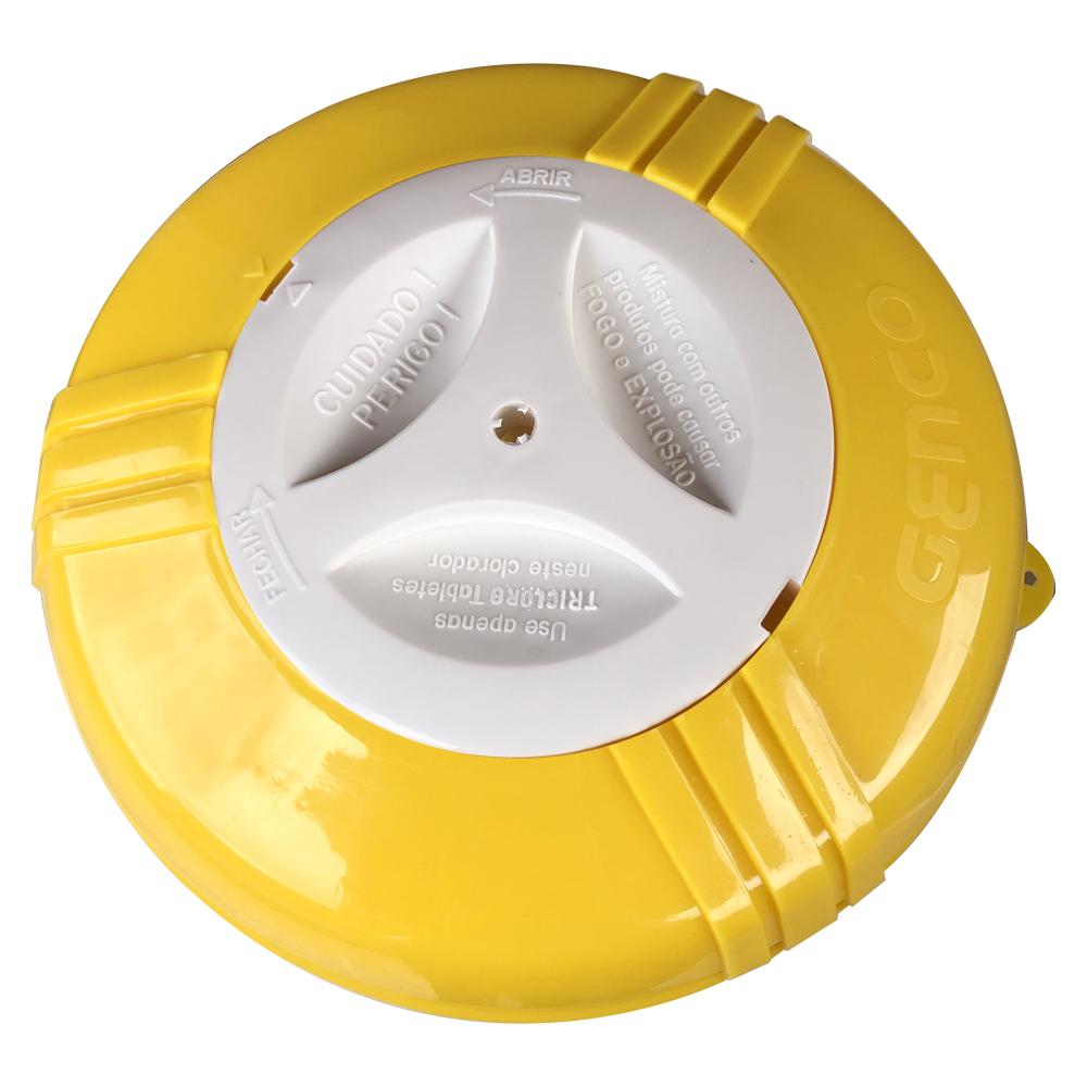 Clorador Flutuante Modelo III Para Piscinas Suporte + 10 Tabletes Pastilha de Cloro 3 em 1 Genco