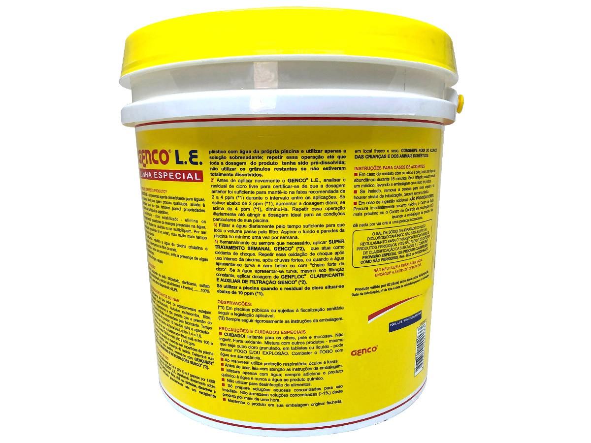 Cloro Granulado Para Piscina Múltipla Ação 3 em 1 Genco 10kg Desinfetante Clarificante Algistático
