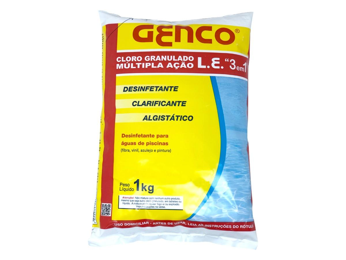 Cloro Granulado Para Piscina Múltipla Ação 3 em 1 Genco 1kg Desinfetante Clarificante Algistático