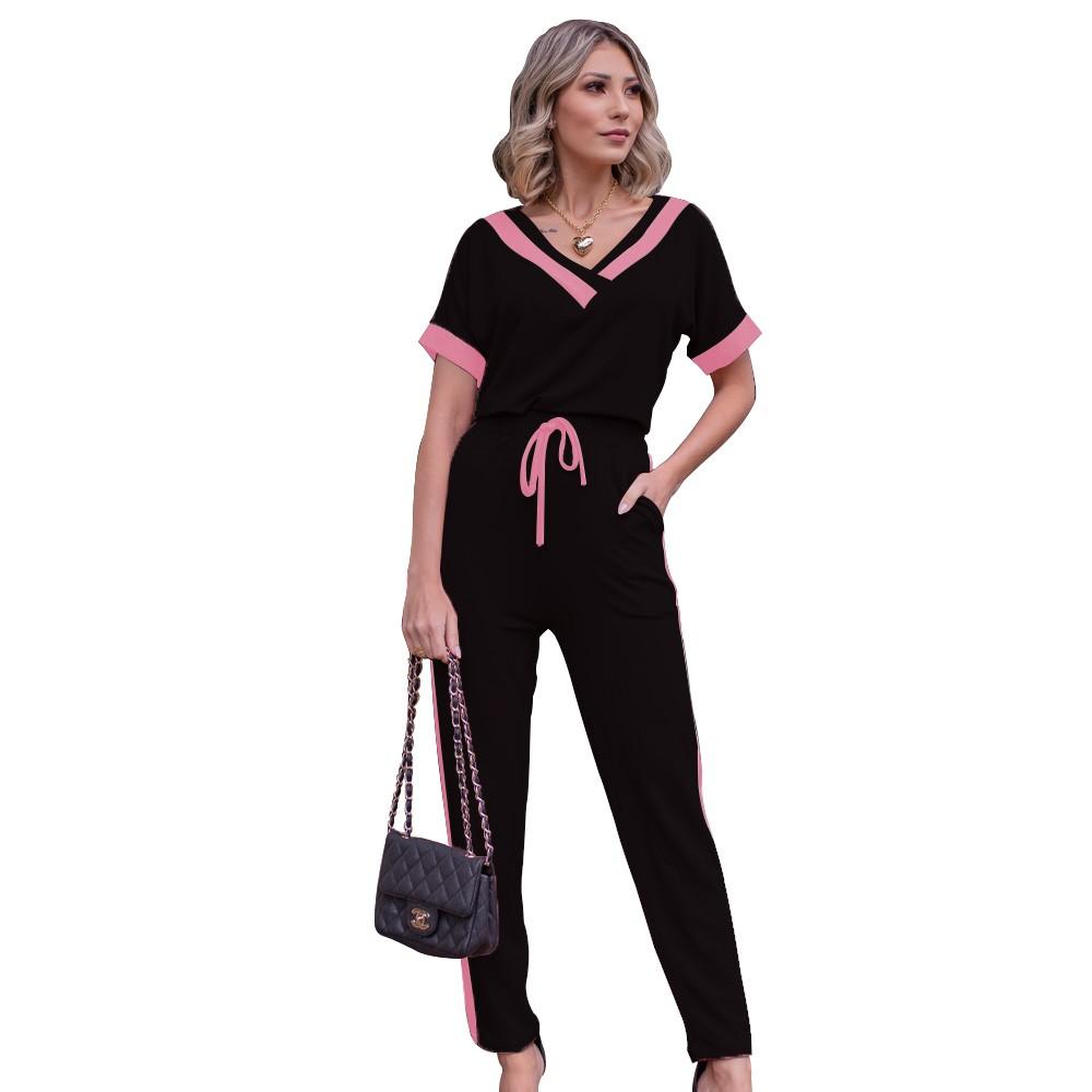 Conjunto Camiseta e Calça Feminina Tecido Moletinho Decote V Manga Curta