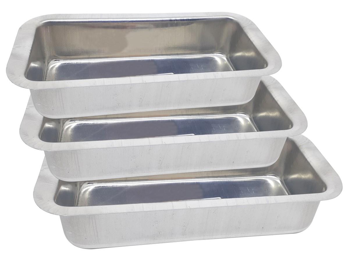 Conjunto de Assadeiras Formas Para Pão em Alumínio 3 Peças