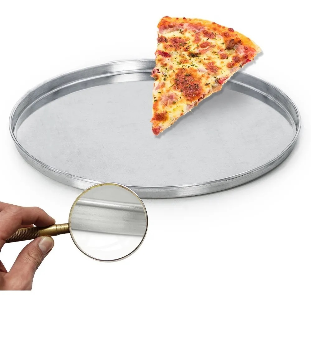 Forma Redonda Para Pizza em Assadeira Alumínio Borda Baixa Reforçada N° 2 Tamanho 30cm  - EPM Acessórios
