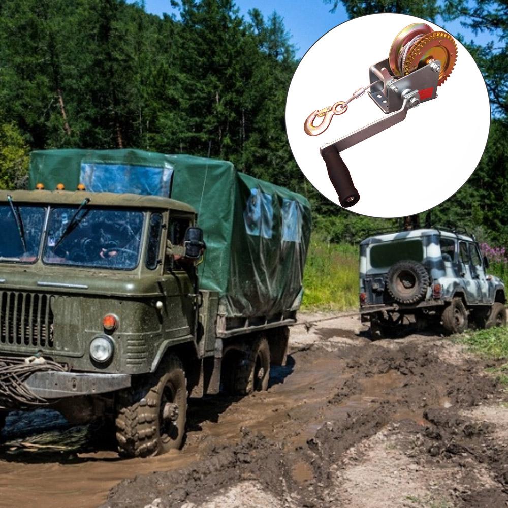Guincho Manual Catracado De Arraste 270kg Com Cabo de Aço 6,8 Metros x 5mm Com Carretilha Resistente  - EPM Acessórios