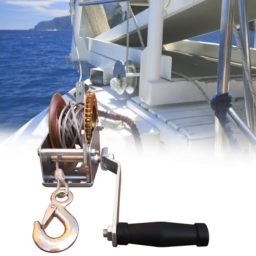 Guincho Manual Catracado De Arraste 540kg Com Cabo de Aço 6,8 Metros x 5mm Com Carretilha Resistente  - EPM Acessórios