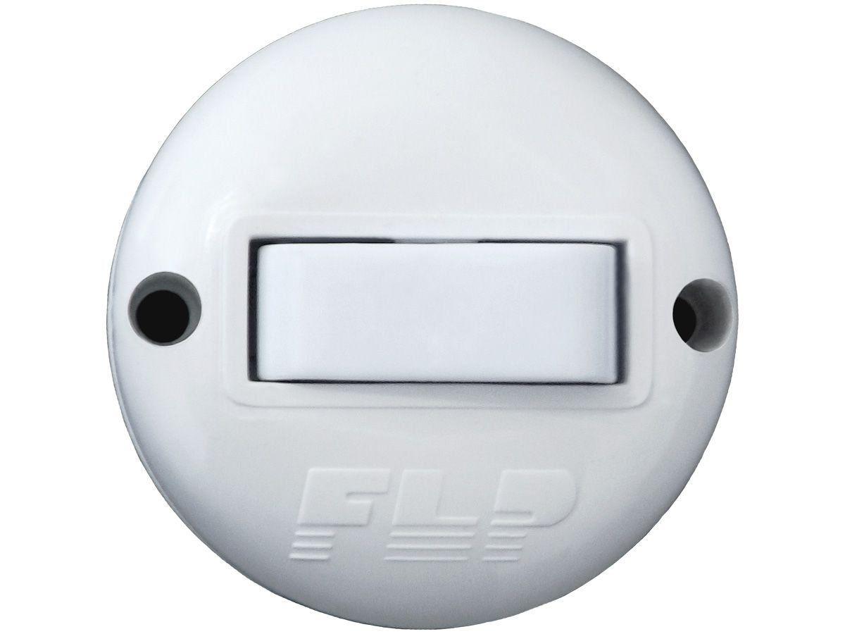 Interruptor Externo Redondo Simples 1 Tecla Branco Nbr 250v 10A Bivolt 127v e 250v