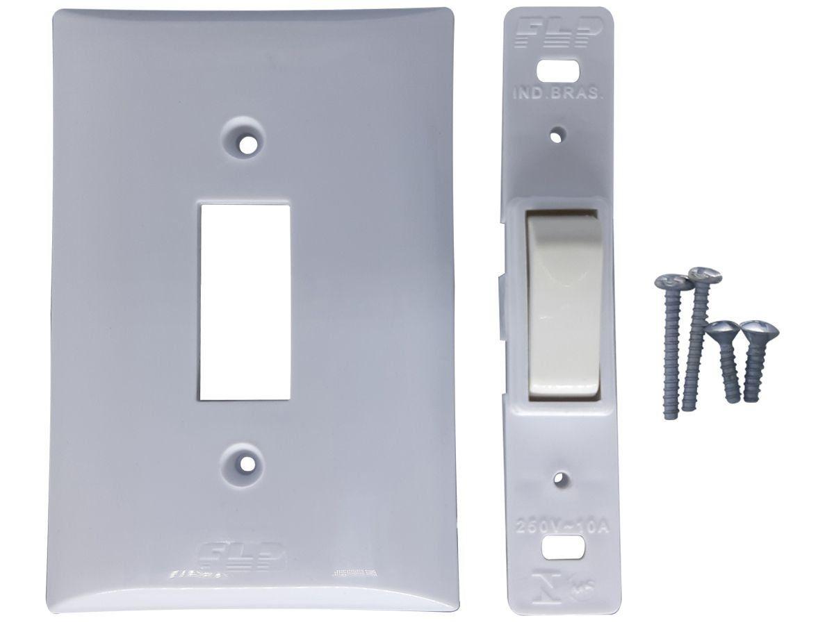 Interruptor Simples 1 Tecla 10A Com Placa Espelho Branco Bivolt 127v e 250v