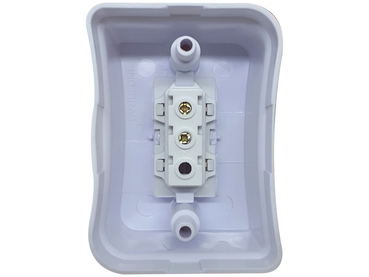 Interruptor Simples 1 Tecla Sobrepor Externo Com Espelho Branco Linha Viena Bivolt 127v e 250v