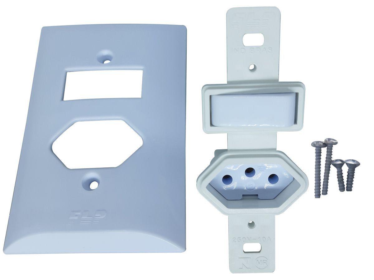 Interruptor Simples 1 Tecla + Tomada 10A 2p+t Com Espelho Branco Bivolt 127V e 250V  - EPM Acessórios