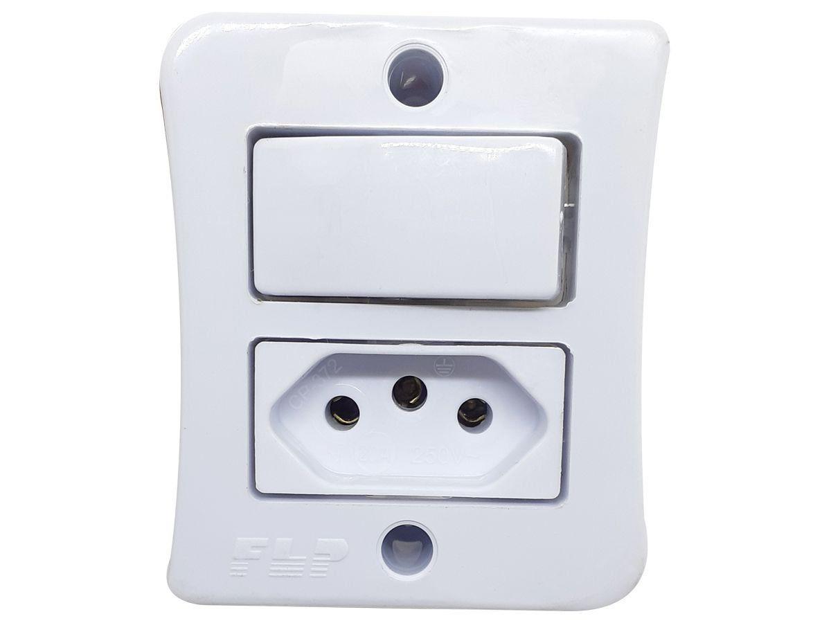 Interruptor Simples 1 Tecla + Tomada 10A 2p+t Sobrepor Externo Com Espelho Branco Linha Viena Bivolt 127v e 250v