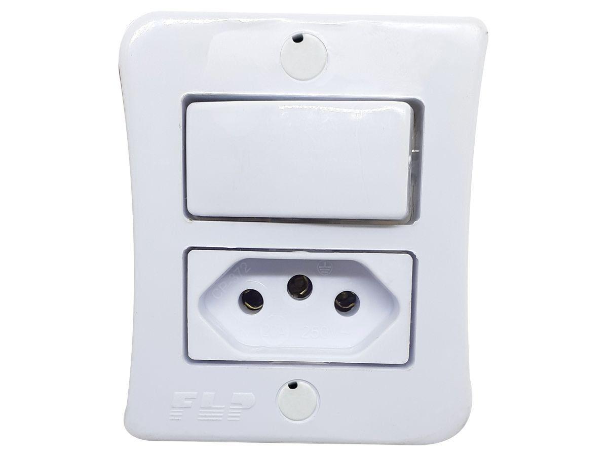 Interruptor Simples 1 Tecla + Tomada 10A 2p+t Sobrepor Externo Com Espelho Branco Linha Viena Bivolt 127v e 250v  - EPM Acessórios