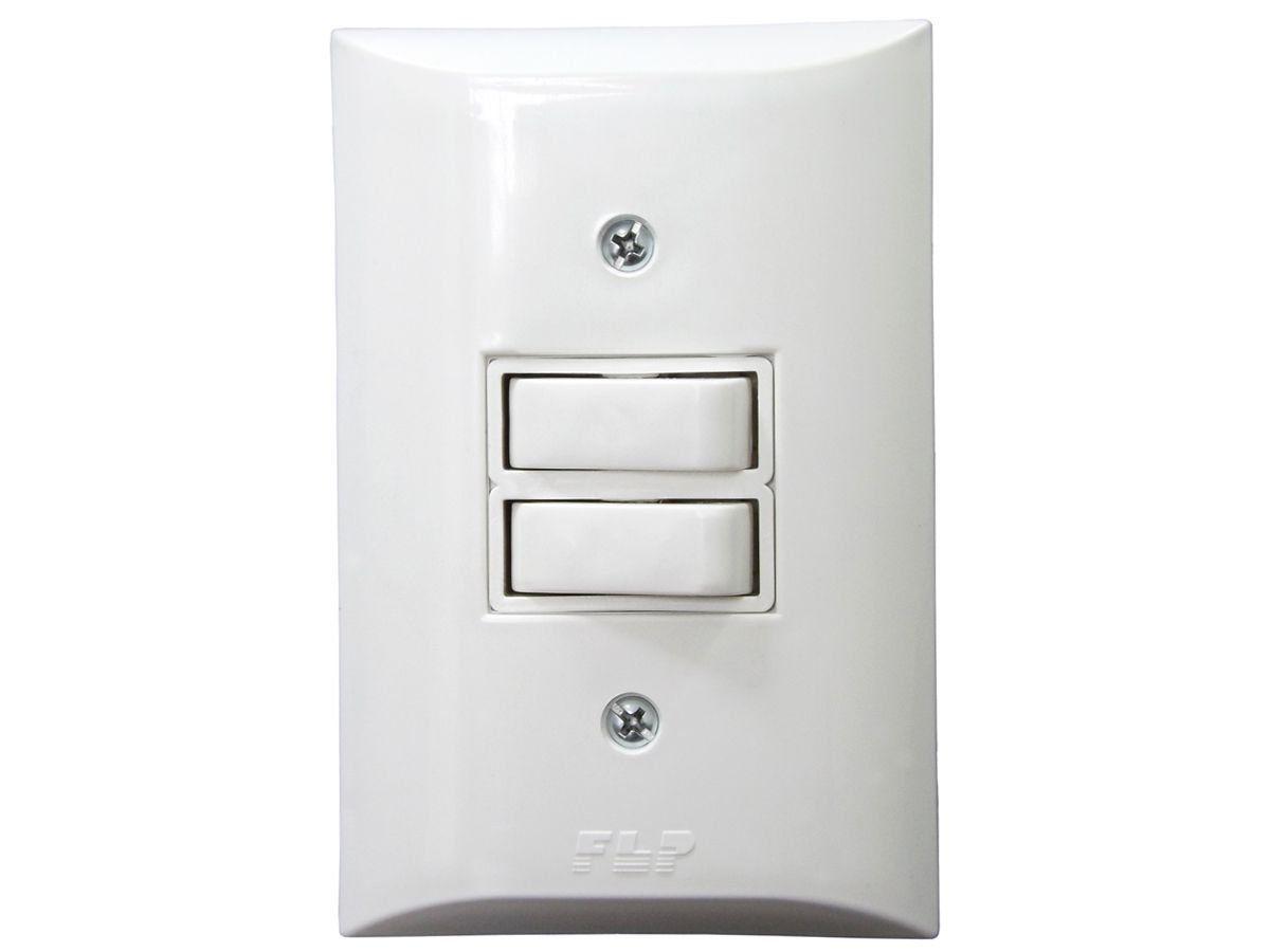Interruptor Simples 2 Teclas 10A Com Placa Espelho Branco Bivolt 127v e 250v  - EPM Acessórios