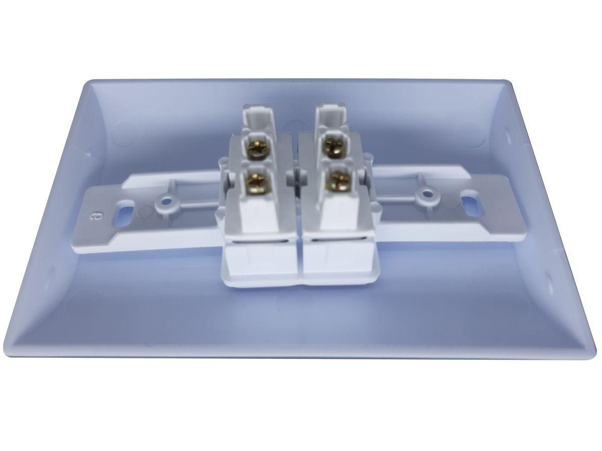 Interruptor Simples 2 Teclas 10A Com Placa Espelho Branco Bivolt 127v e 250v