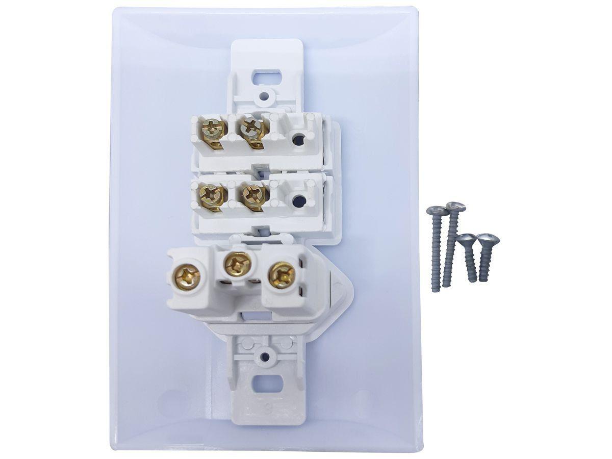 Interruptor Simples 2 Teclas + Tomada 10A 2p+t Com Espelho Branco Bivolt 127v e 250v