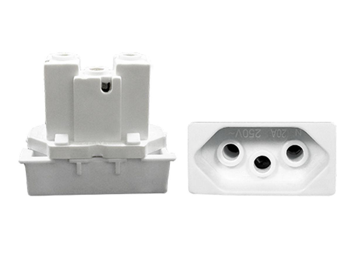 Interruptor Simples 2 Teclas + Tomada 10A 2p+t Com Espelho Branco Linha Dubai Bivolt 127v e 250v