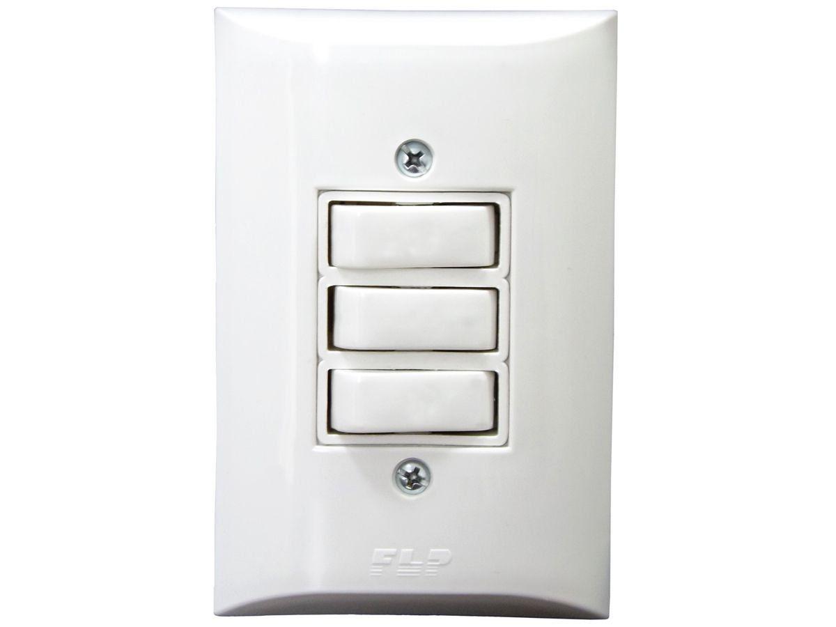 Interruptor Simples 3 Teclas 10A Com Placa Espelho Branco Bivolt 127V e 250V