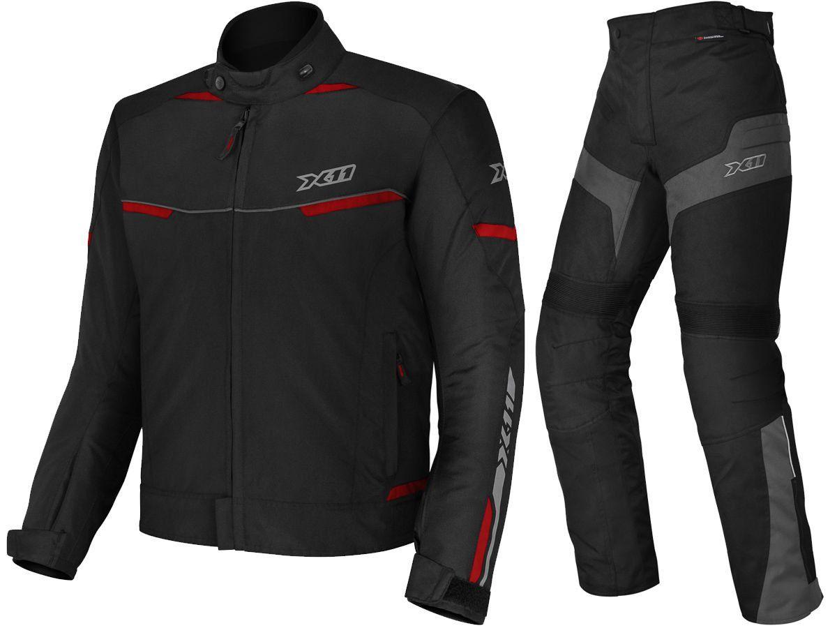 Jaqueta X11 Guard 2 Masculina Vermelha + Calça X11 Ultra 2 Masculina 100% Impermeável Com Proteção