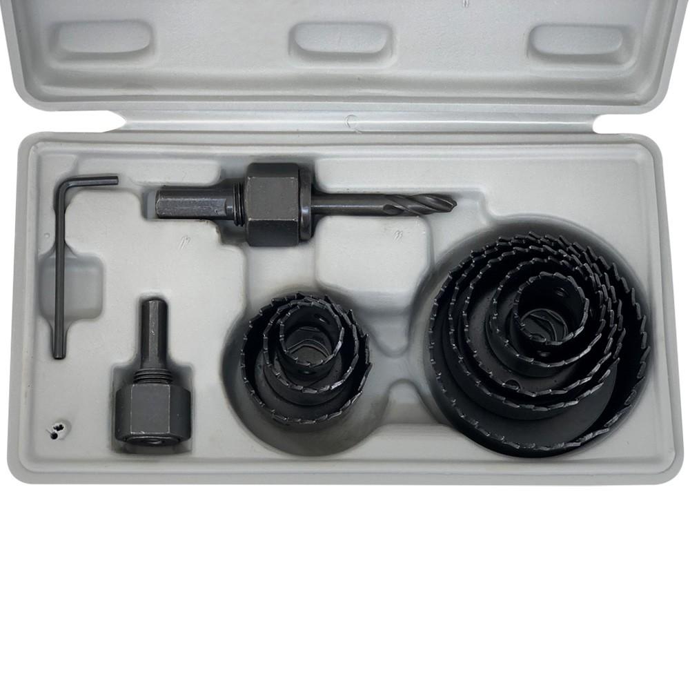 Jogo Serra Copo Para Madeira Gesso e PVC Com 11 Peças 19mm à 64mm + Estojo Profissional