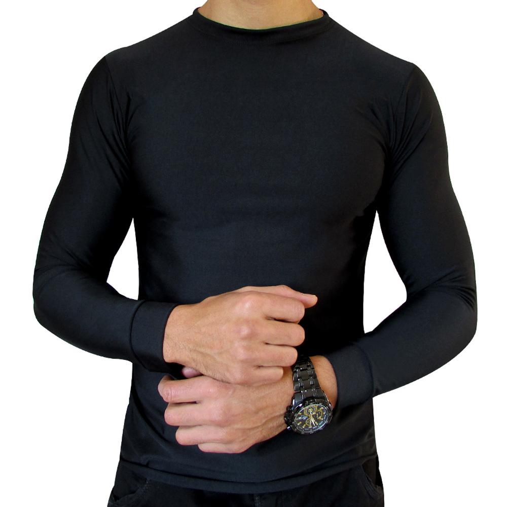 Kit 3 Camiseta Segunda Pele Térmica Preta Motoqueiro Motociclista Ciclista Natação Treino Corrida