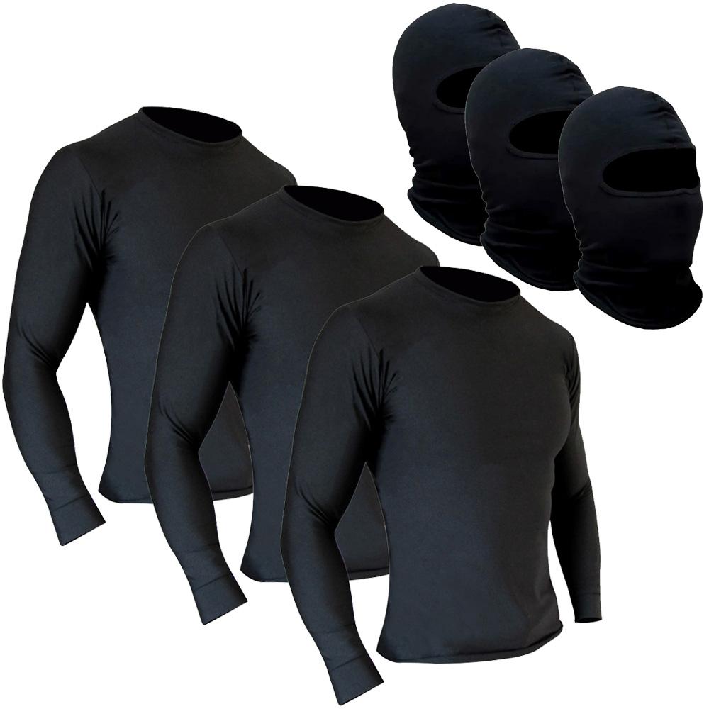 Kit 3 Camisetas Segunda Pele + 3 Balaclavas Touca Ninja Térmica Motoqueiro Motociclista Ciclista Natação Treino Corrida