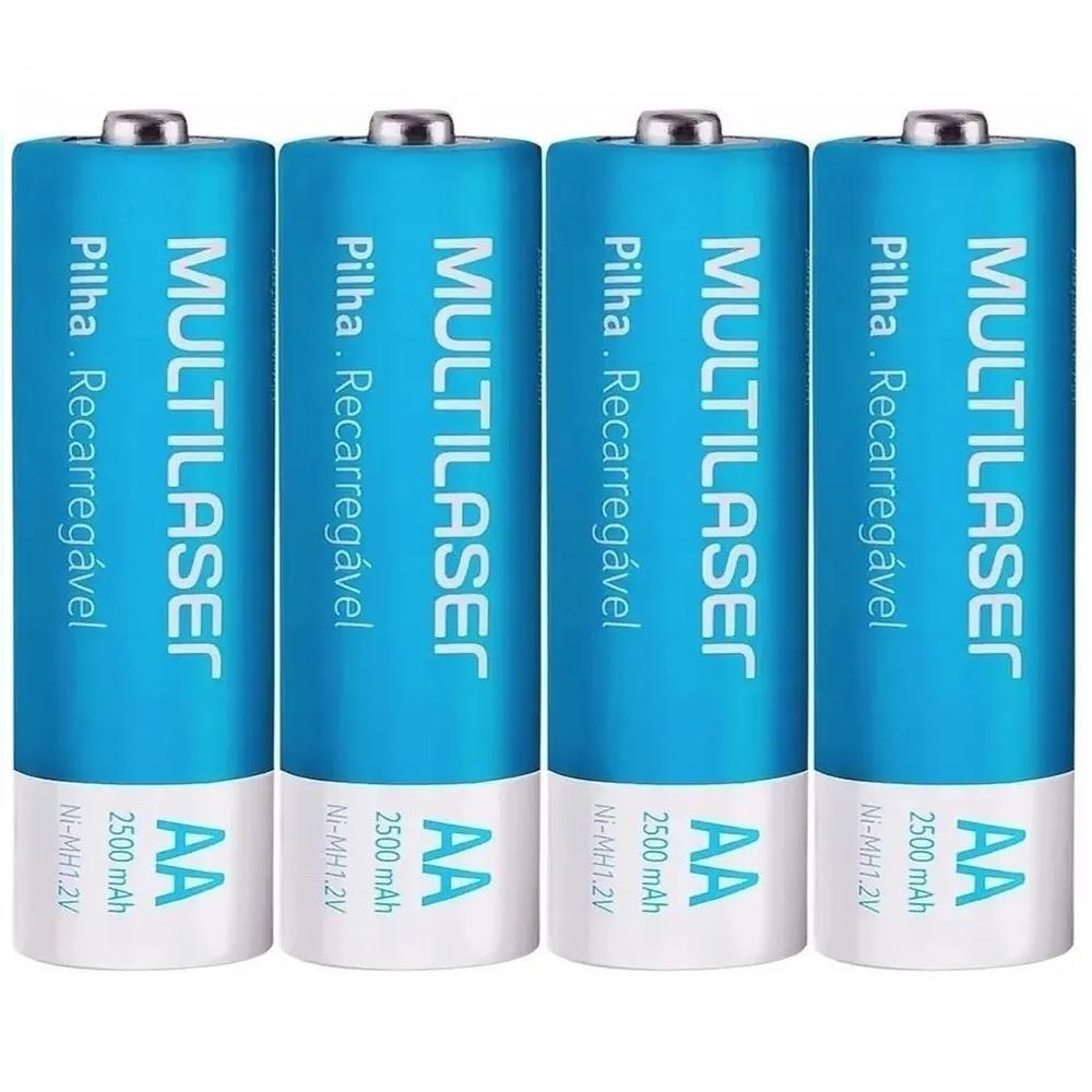 Kit 4 Pilhas Recarregáveis Multilaser Aa Nimh 1,2v 2500Mah CB052