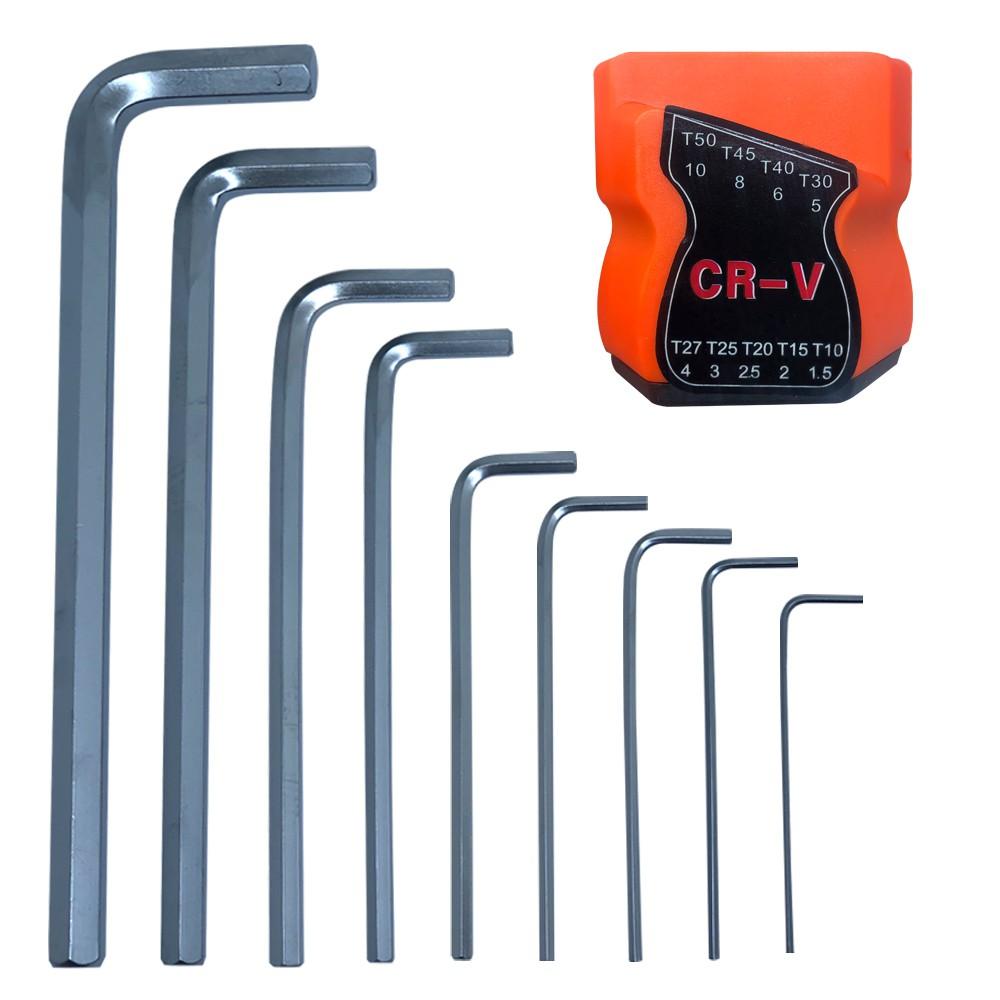 Kit Jogo Chave Torx Longa Tipo L Profissional T10 a T50 + Jogo de Chave Allen Tipo L Profissional T10 a T50