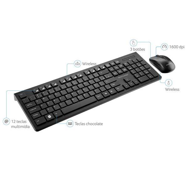 Kit Teclado e Mouse Multilaser TC212 Multimídia Sem Fio Wireless USB Slim ABNT Preto