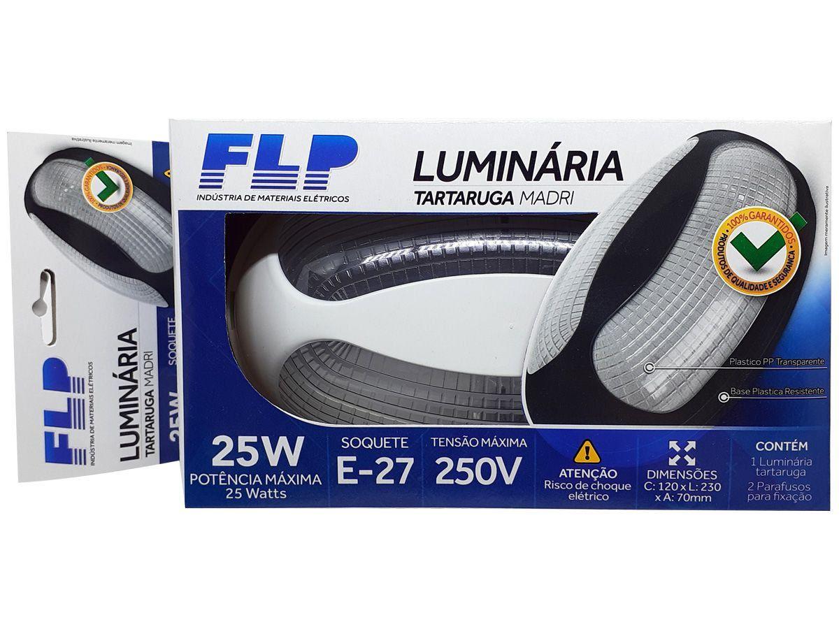 Luminária Arandela Tartaruga Externa Teto e Parede Madri Bocal E27 25W  250V Branca