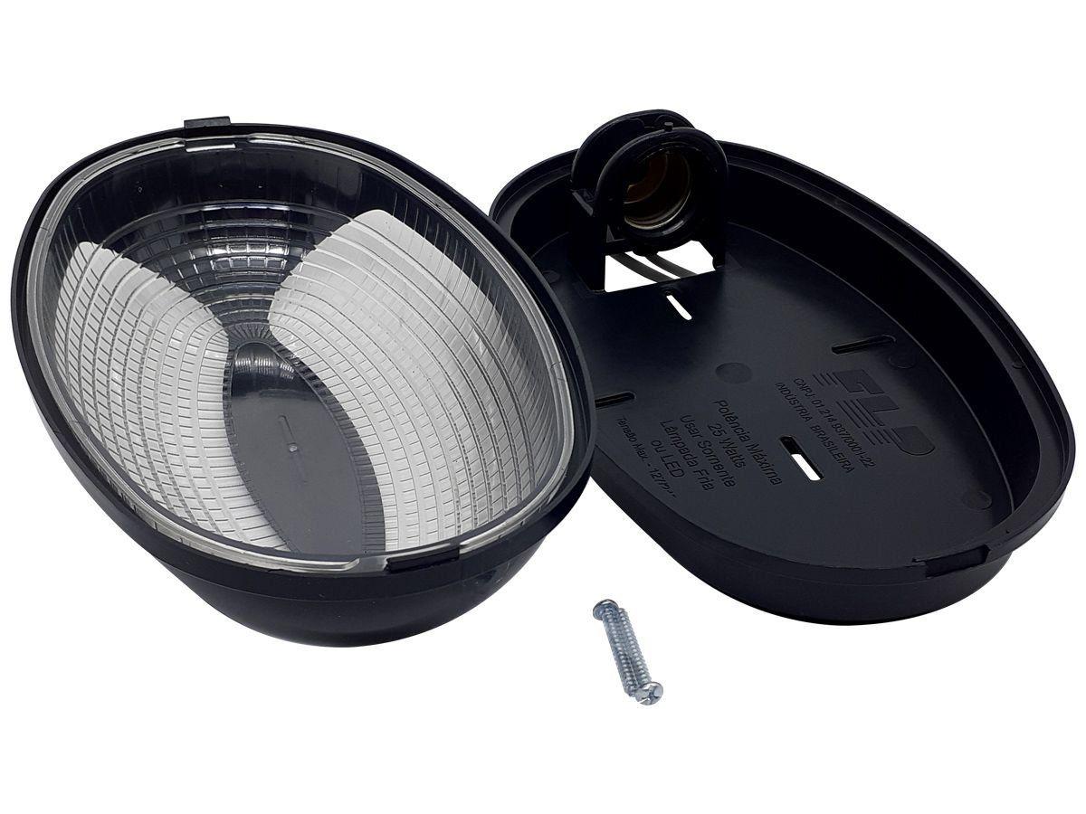 Luminária Arandela Tartaruga Externa Teto e Parede Madri Bocal E27 25W 250V Preta