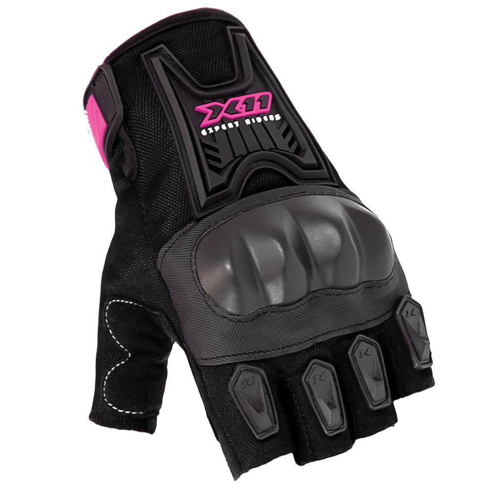 Luva X11 Blackout Feminina Meio Dedo Com Proteção Motociclista