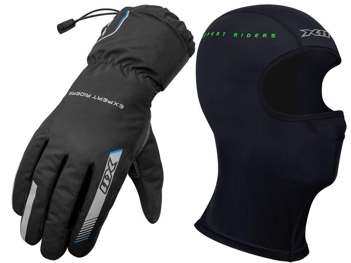 Luva Proof X11 Impermeável Cano Longo Motociclista + Balaclava X11 Touca Ninja Termica