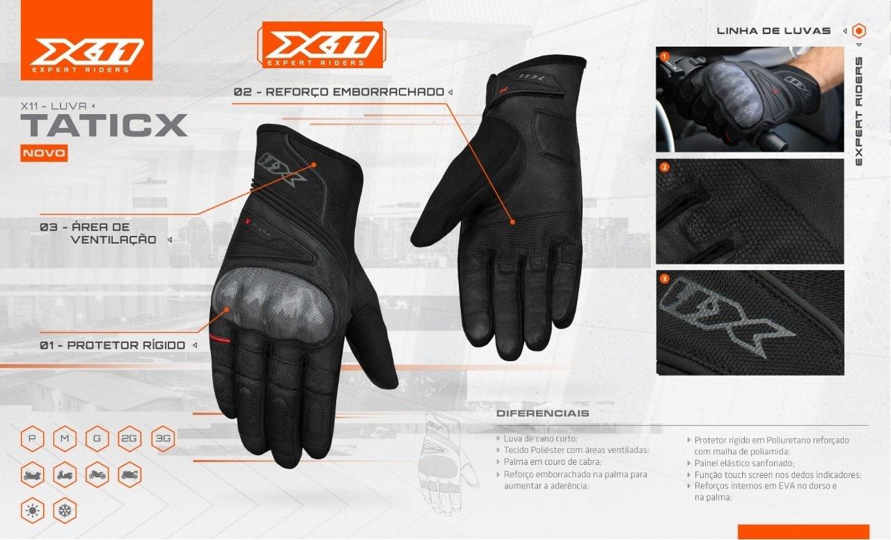 Luva X11 Tatic X Com Proteção Ventilada Lançamento 2019