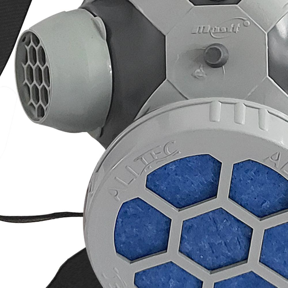 Máscara Respirador 1/4 Facial Mastt Alltec 2001 P2 Filtro de Uma Via Pintura Poeira Gases Nevoas Vapores + Kit Filtro P2 Com 10 Unidades