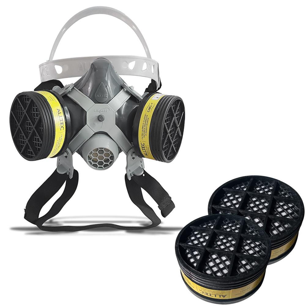 Máscara Respirador 1/4 Facial Mastt Alltec 2002 VO-GA Filtro de Duas Vias Pintura Poeira Gases Nevoas Vapores + 2 Refis Cartucho Químico VO-GA