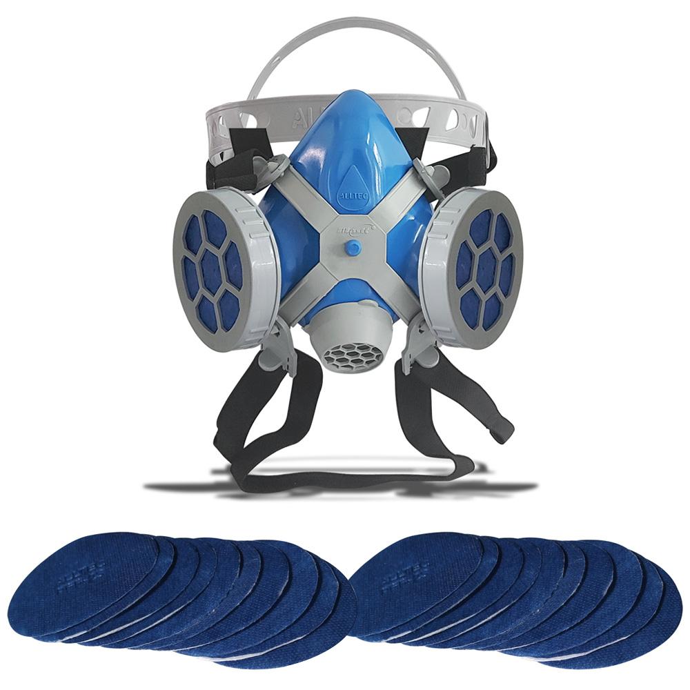 Máscara Respirador Semi Facial Mastt Alltec 2402 P2 Filtro de Duas Vias Pintura Poeira Gases Nevoas Vapores + Kit Filtro P2 Com 20 Unidades  - EPM Acessórios