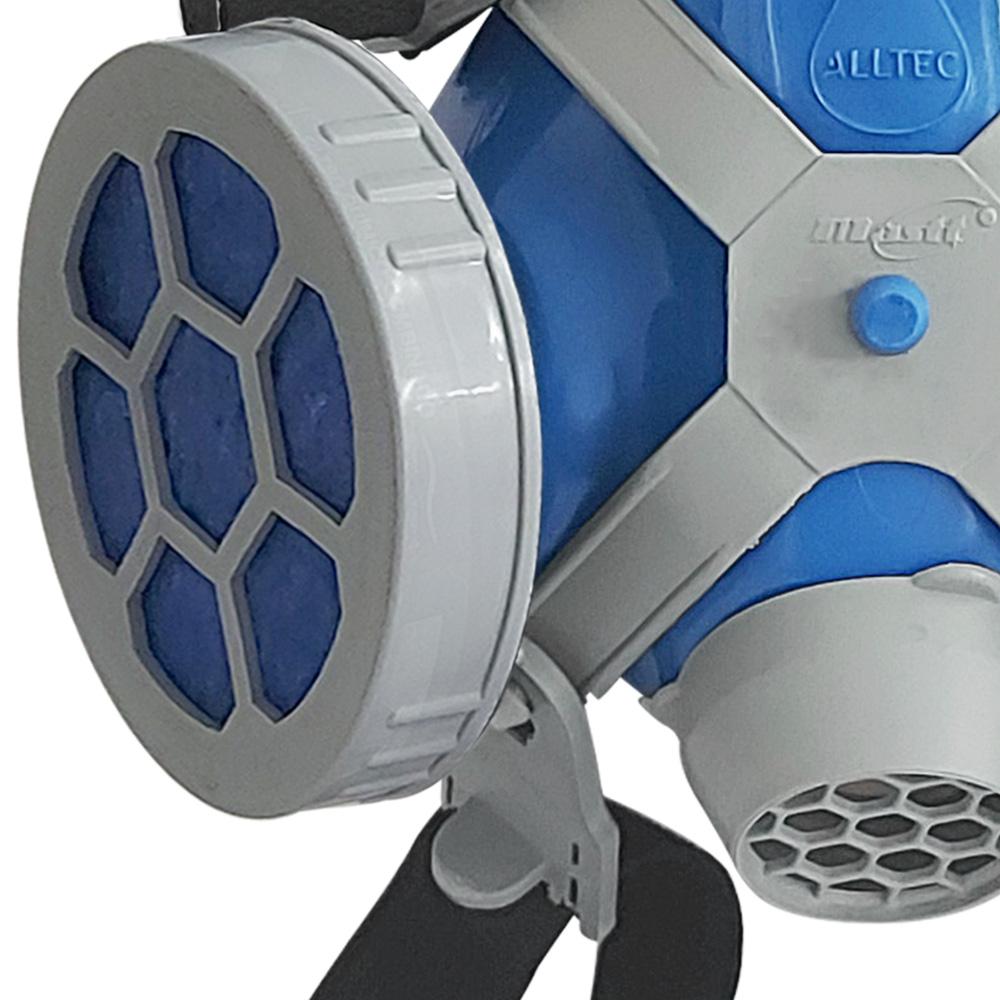 Máscara Respirador Semi Facial Mastt Alltec 2402 P2 Filtro de Duas Vias Pintura Poeira Gases Nevoas Vapores + 02 Cartucho Filtro P2