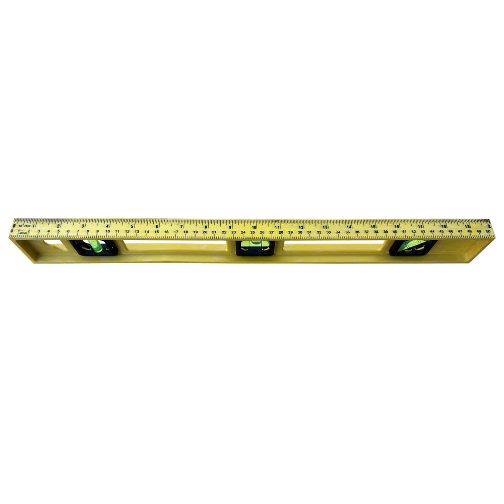 Nível De Mão Nivelador Profissional Amarelo Em Resina Com 3 Bolhas Régua de 50cm
