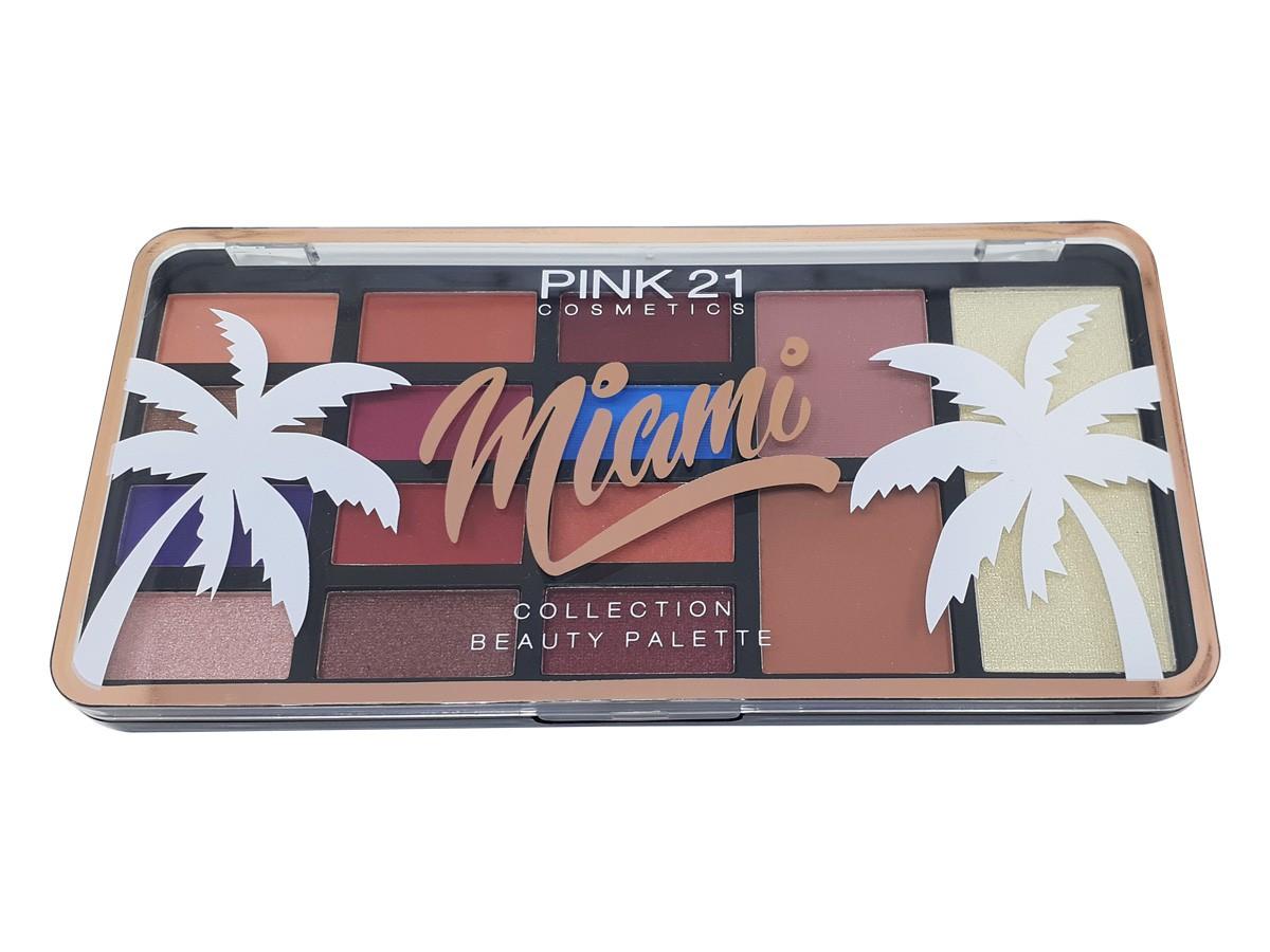 Paleta de Sombras Miami 3 em 1 Com Iluminador Blush e Sombras Make Matte e com brilho Lindas Cores CS2438