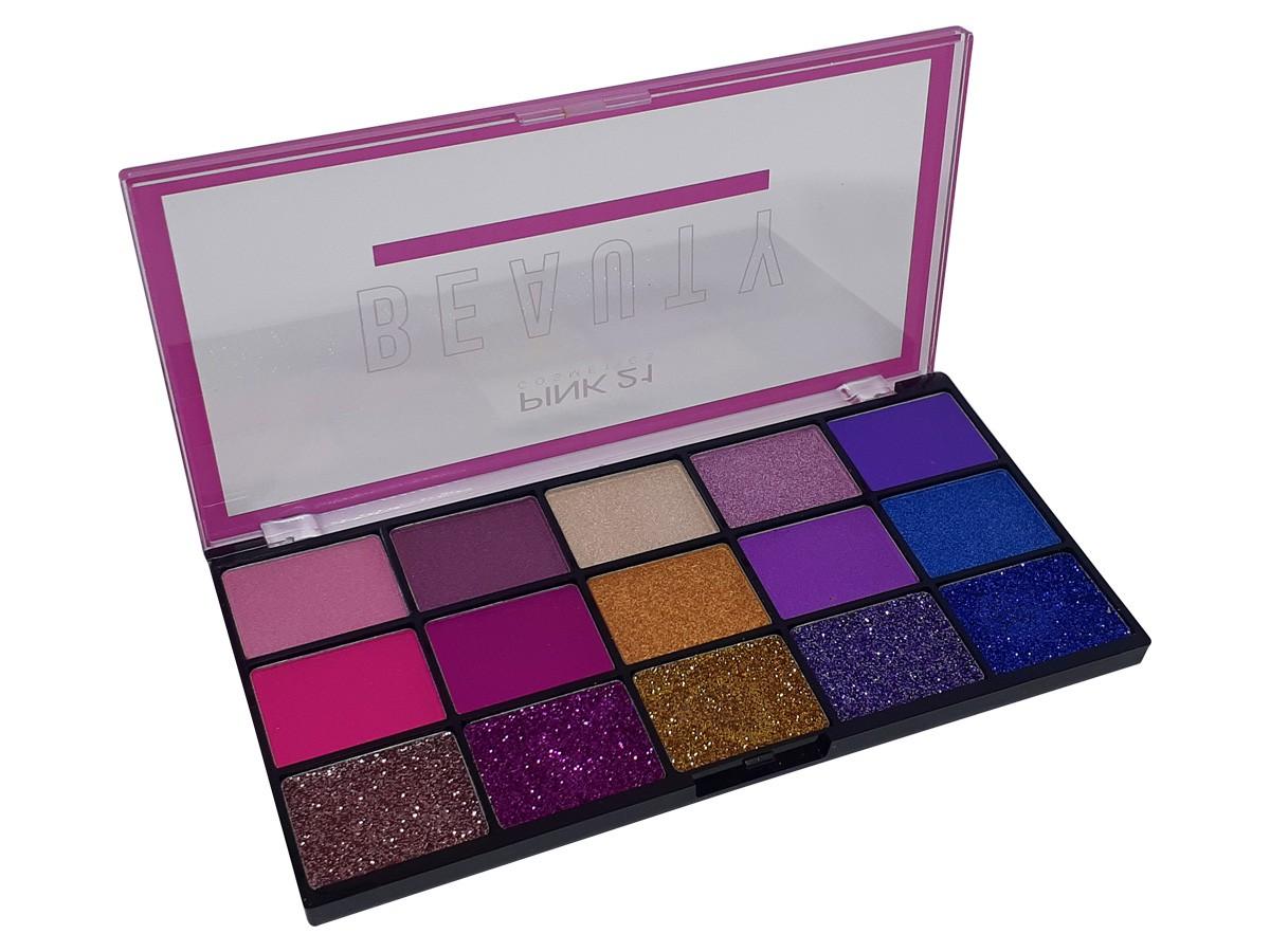 Paleta de Sombras Beauty Com 15 Cores Make Matte Cintilante e Glitter Com Lindas Cores CS2309