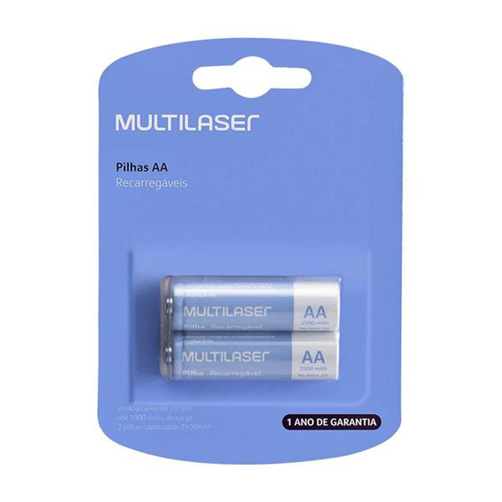 Kit 2 Pilhas Recarregáveis Multilaser Aa Nimh 1,2v 2500Mah CB053