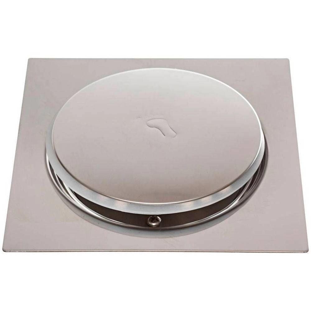Ralo Inteligente Click Pop Up Clic Para Piso Banheiro 10x10cm Metal Quadrado