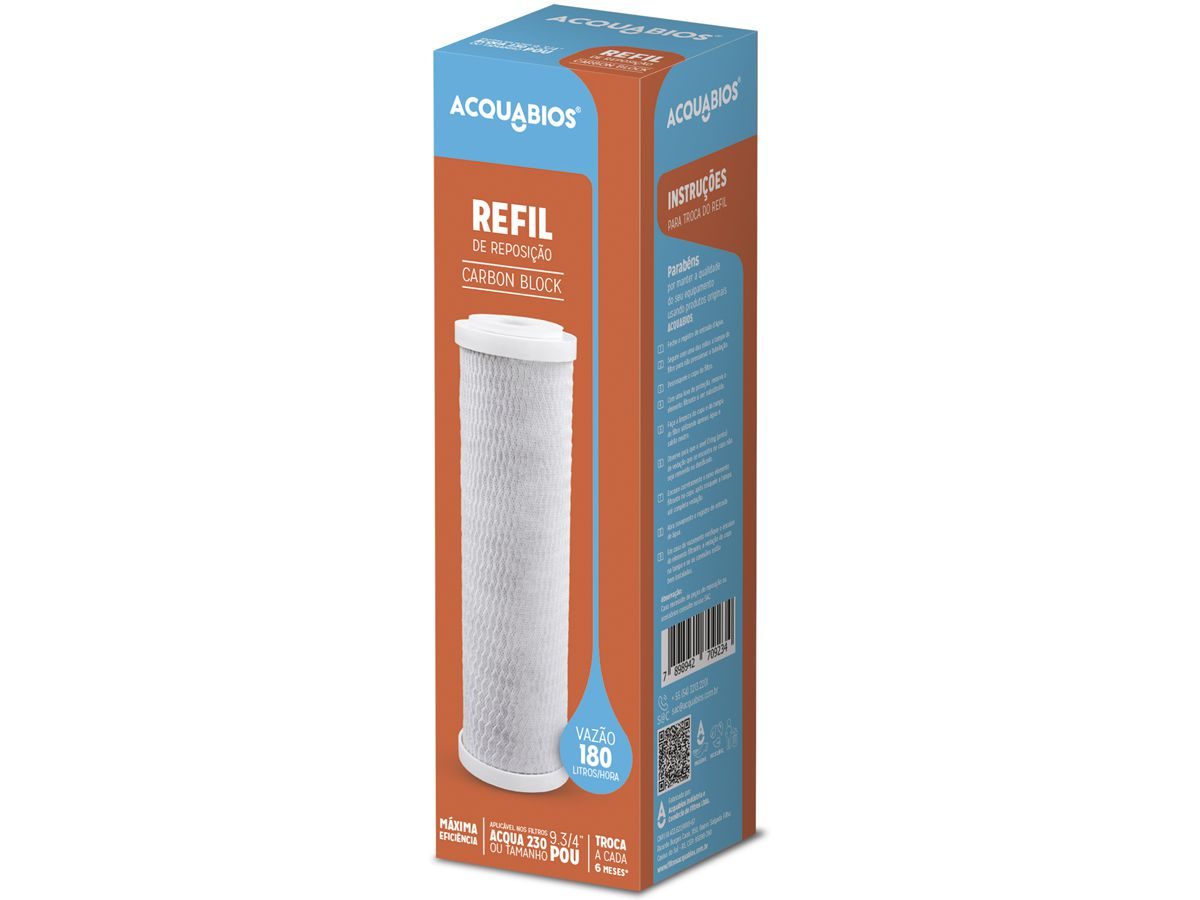 "Refil Para Filtro Aqua 230 Carbon Block 9.3/4"" POU Acquabios"