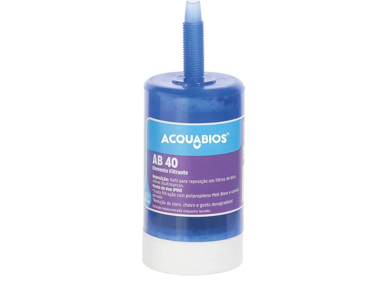 Refil Para Filtro Purificador de Água Multiuso AB40 Rosca Cônica Acquabios